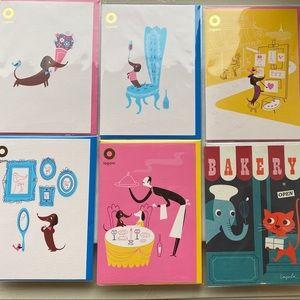 6xMonsieur Boudin Dog in Paris Cards, Blank inside